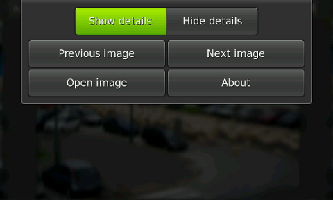 Application menu with image details filter on